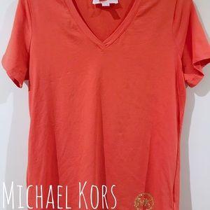 Michael Kors Coral V Neck Shirt Medium